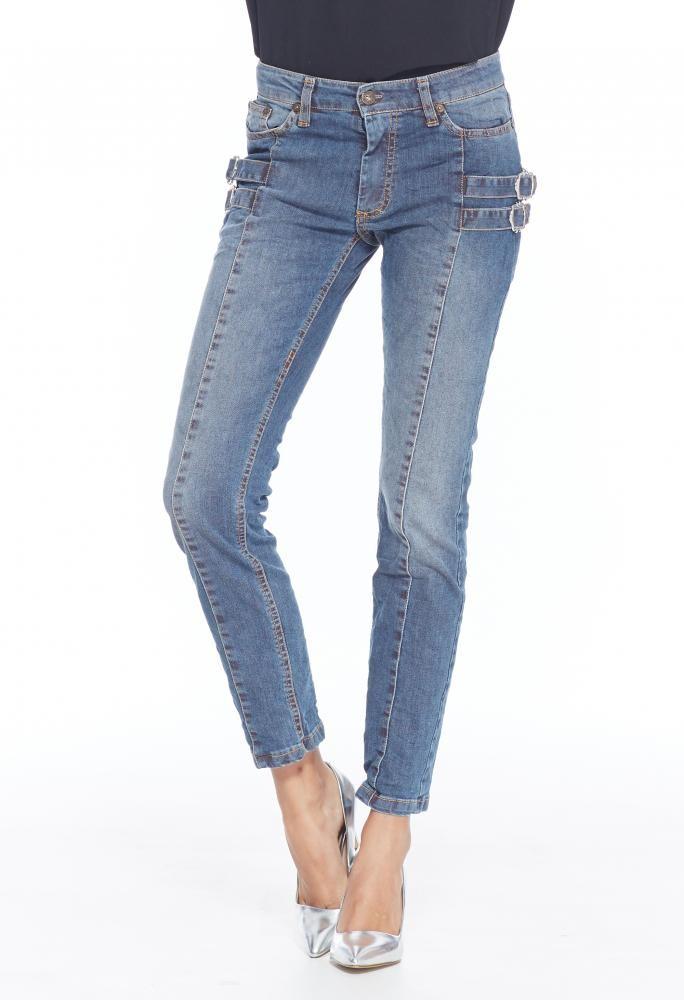 Metallic Buckle Jeans