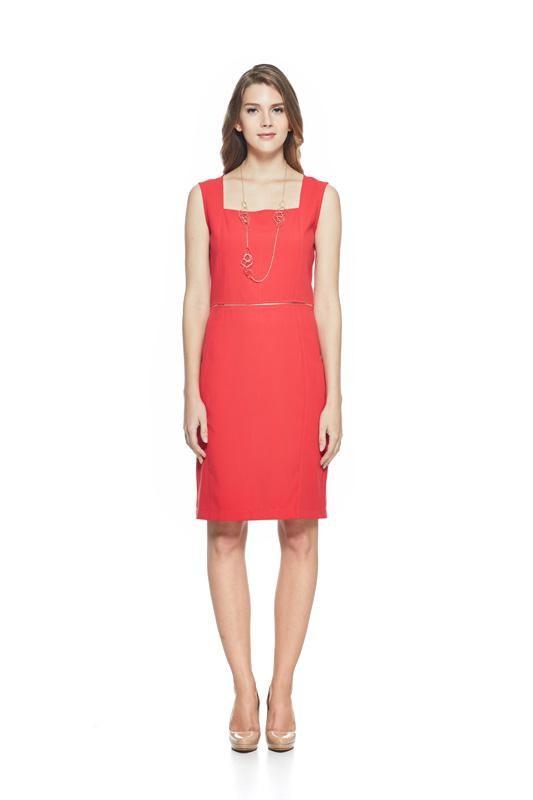 Red Straight Cut Dress