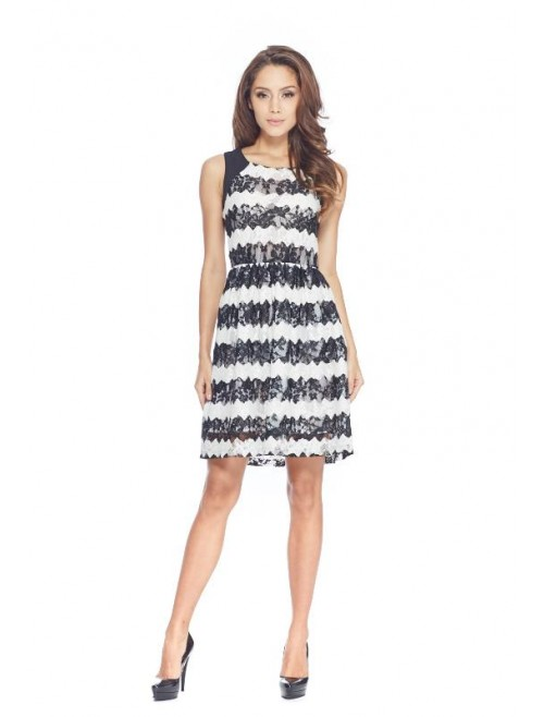 Black and White Stripe Lace Dress