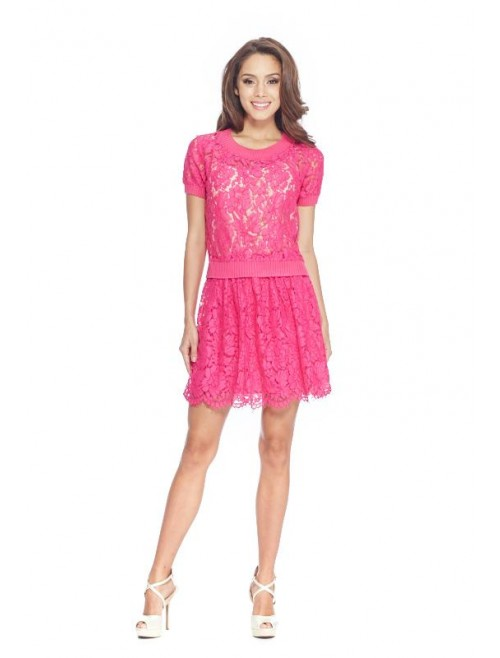 Fuschia Pink Lace Top and Skirt