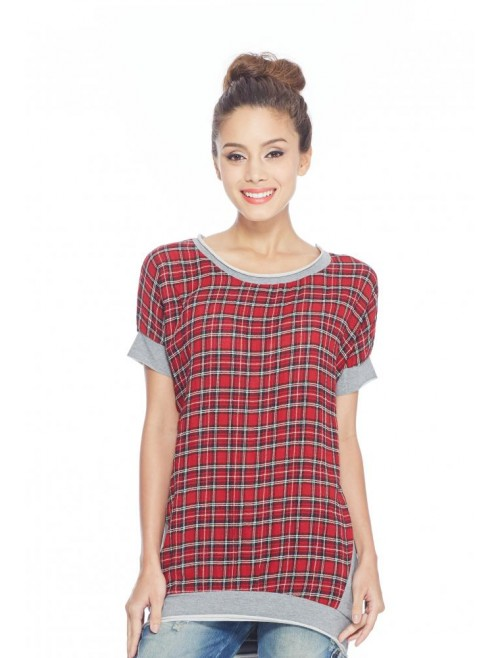Checkered with Lace Shirt