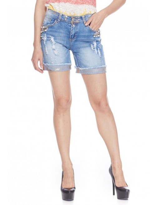 Beaded denim shorts