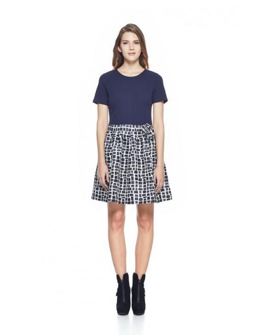 Dress with checkered skirt