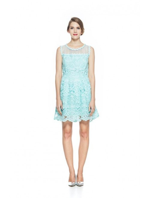 Turquoise Green Lace Organza Shoulder Dress