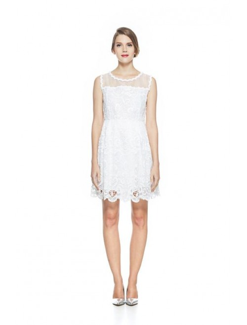 White Lace organza shoulder dress
